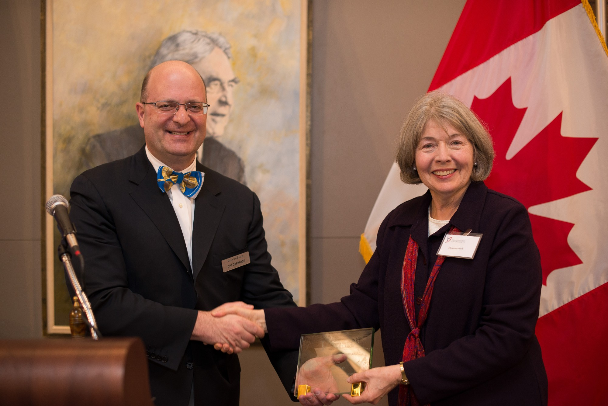 Chi Carmody, Canadian Director of the Canada-United States Law Institute and Professor Emerita Maureen Irish, University of Windsor Faculty of Law