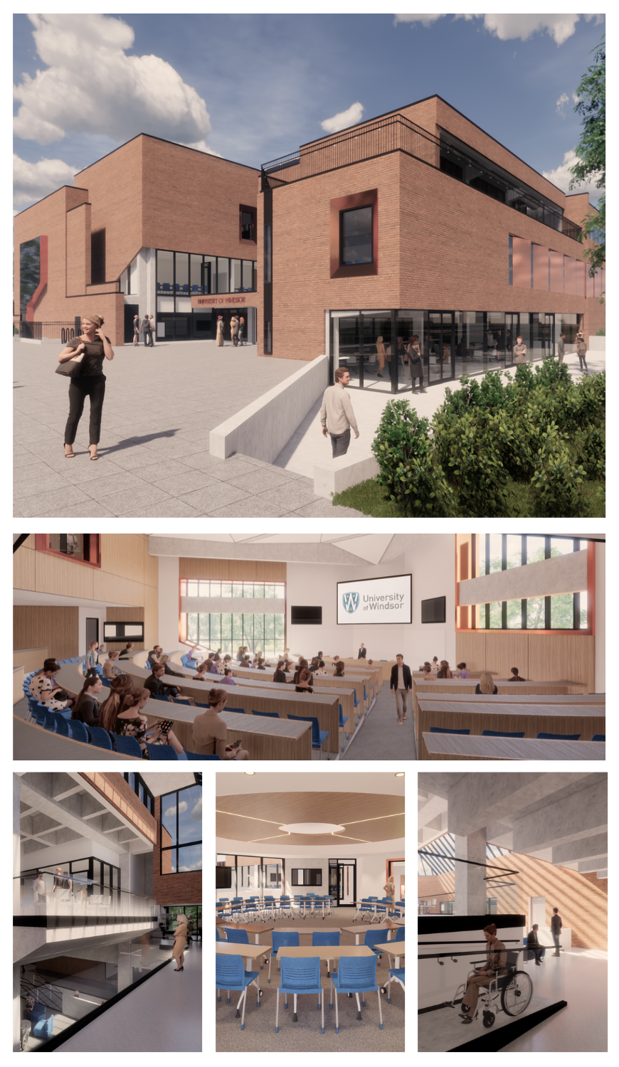 Rendering of the exterior and inside of the new Windsor Law building