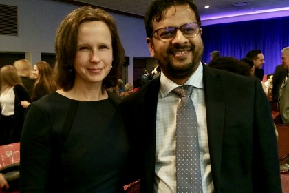 Professors Anneke Smit, Sujith Xavier and Marcela Aroca (not in the photo) Recognized with Teaching Excellence Awards