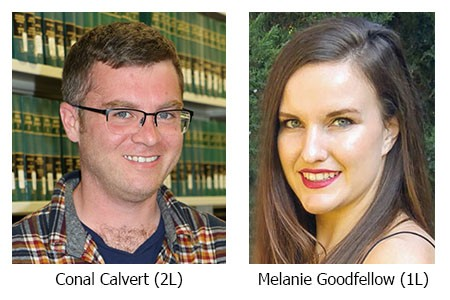 Picture of Northwest Territories Clerkship selected students, Conal Calvert and Melanie Goodfellow.