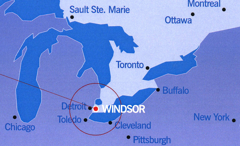 Windsor's location in relation to other Ontario cities.