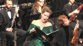 Soprano Karen Driscoll in performance with orchestra