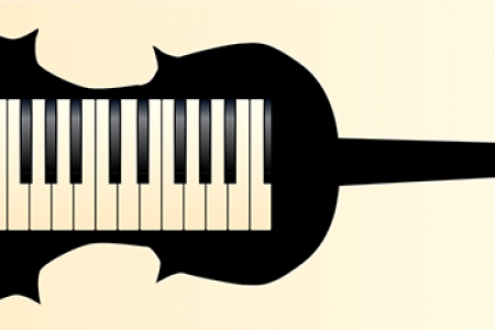 Image of a piano's keyboard inside a violin