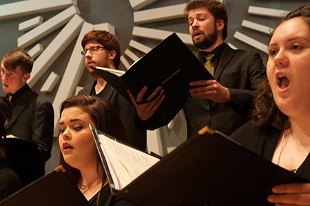 Members of the UWindsor Chamber Choir performing in the Heritage Auditorium April 2016