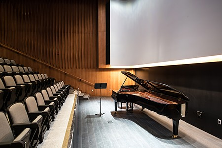 The new Performance Hall stage with 9 foot grand piano