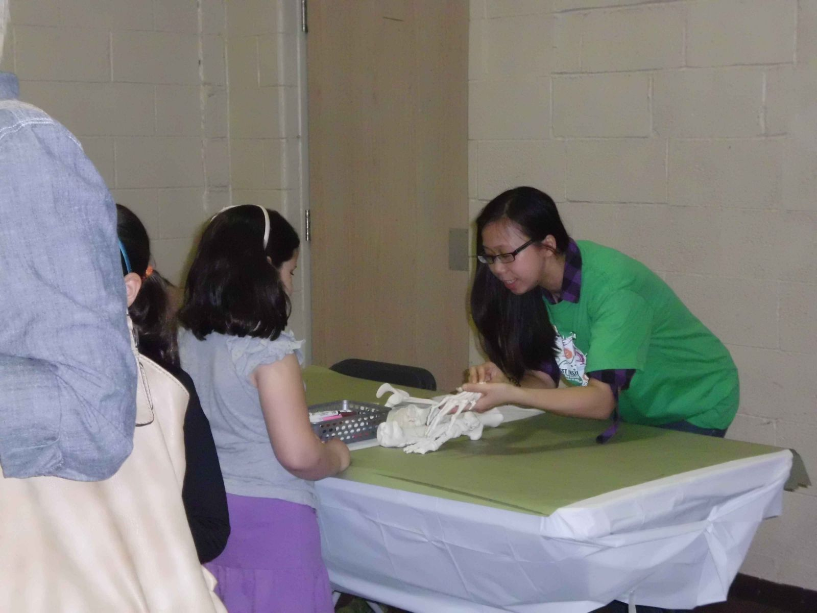 Volunteer Maggie showing attendees nursing activities