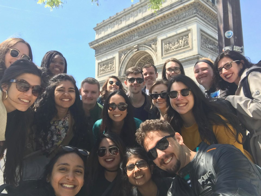 2019 EU Study Abroad Program Participants in front of the Arc de Triomphe in Paris, France
