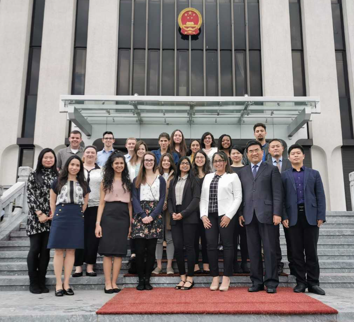 2019 EU Study Abroad Program Participants in front of the Chinese Mission to the EU