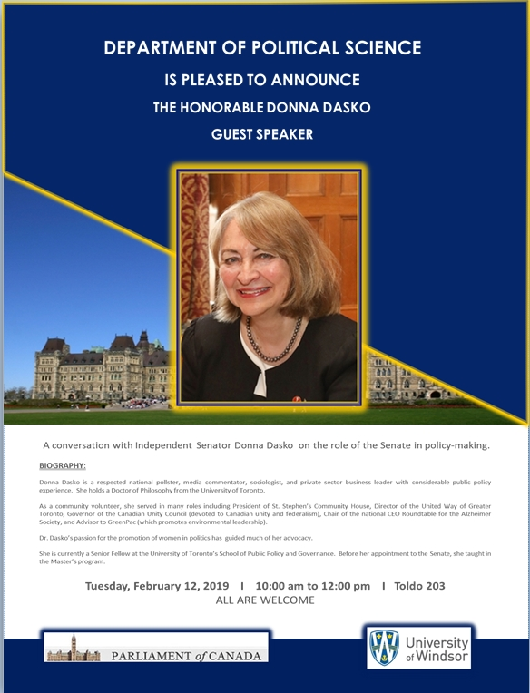 Guest Speaker - The Honorable Donna Dasko - February 12, 2019 at 10:00 am in Toldo, Room 203