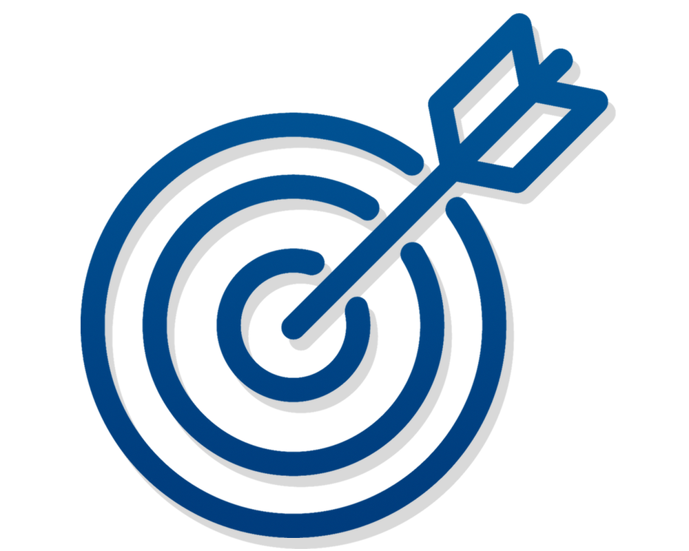 Minimalist illustration of, in blue lines with a subtle grey shadow, arrow hitting a bullseye target