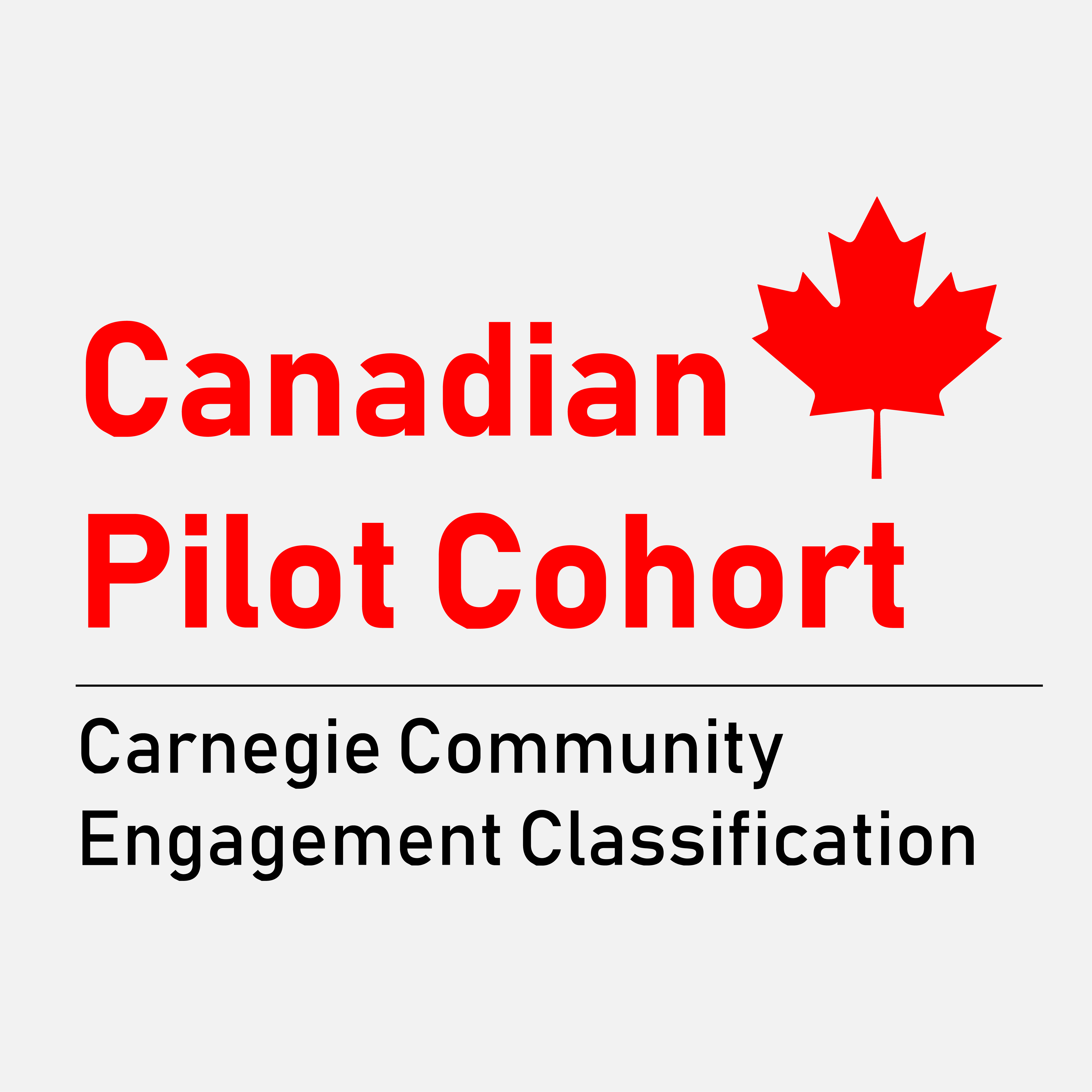 Logo with text: Canadian Pilot Cohort andCarnegie Community Engagement Classification underneath. Red maple leaf in top right corner of logo