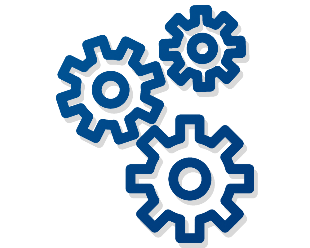 Minimalist illustration of, in blue lines with a subtle grey shadow, three gears, turning