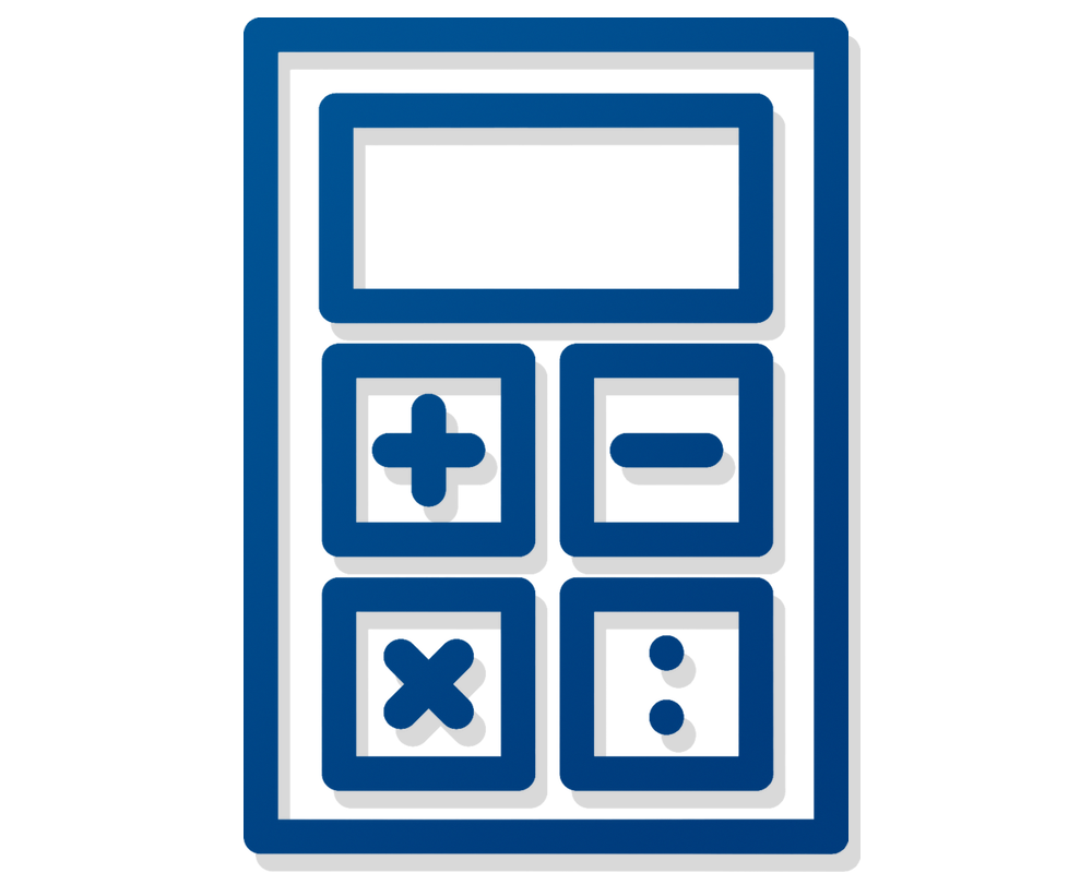 Minimalist illustration of, in blue lines with a subtle grey shadow, a calculator