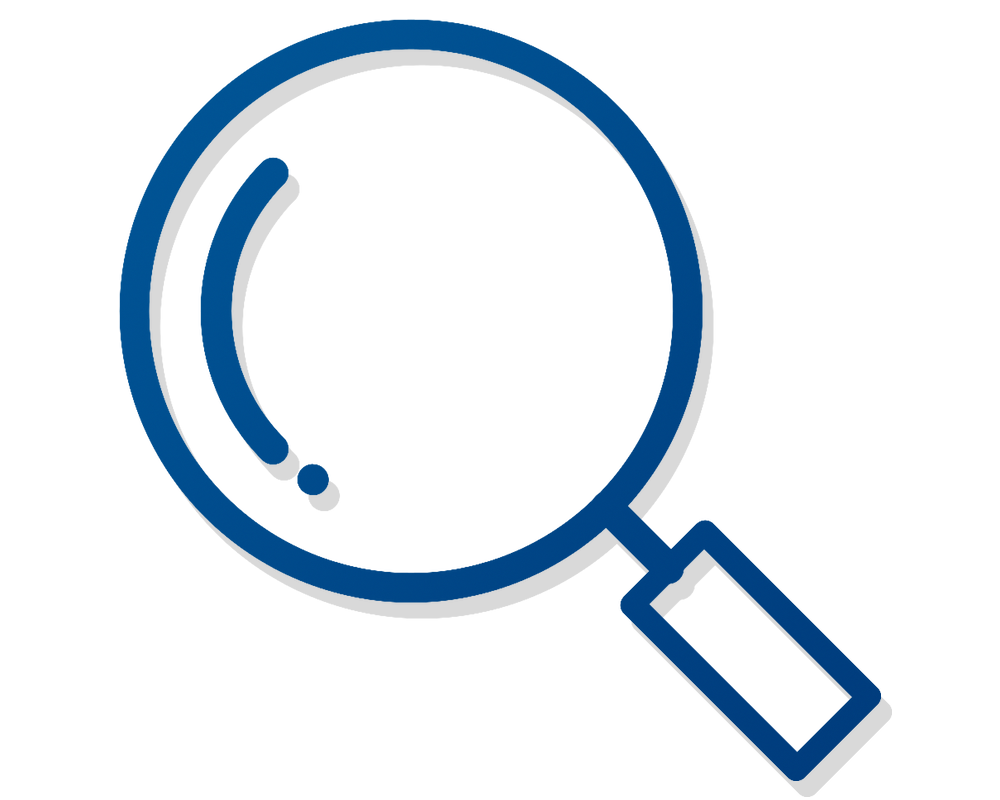 Minimalist illustration of, in blue lines with a subtle grey shadow, a magnifying glass