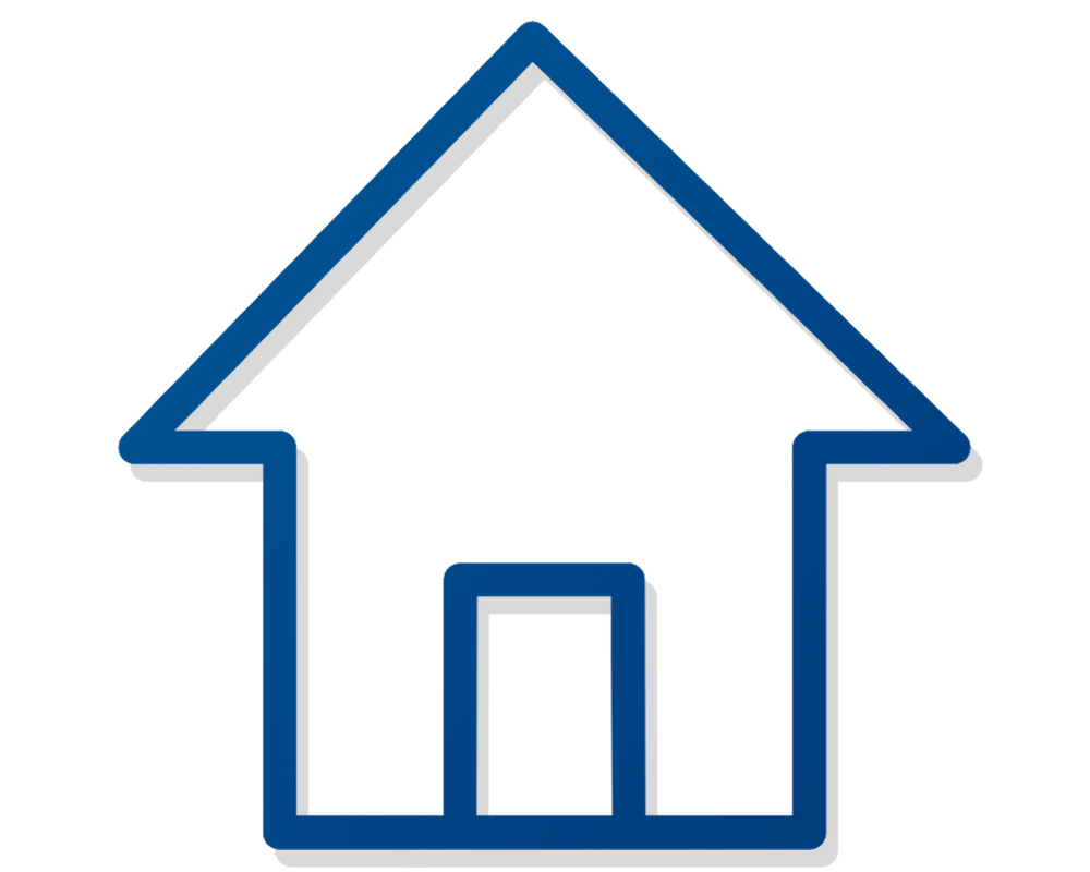 Minimalist illustration of, in blue lines with a subtle grey shadow, a house