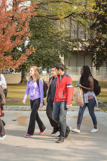 Exterior campus, students on campus