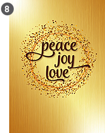 Cover #8 - Peace, love, joy on gold