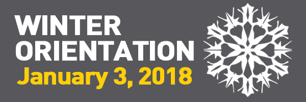 Grey background with text: Winter Orientation January 3rd 2018. Click through to Orientation website.