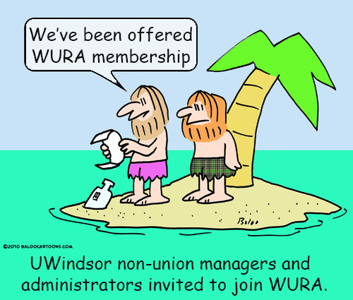 "Two guys on a deserted island reading a message in a bottle. Caption says ""We've been offered WURA membership""."