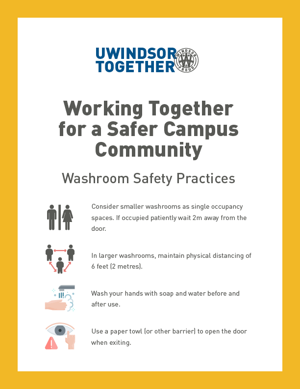 A sign is displayed advising people of washroom safety practices.