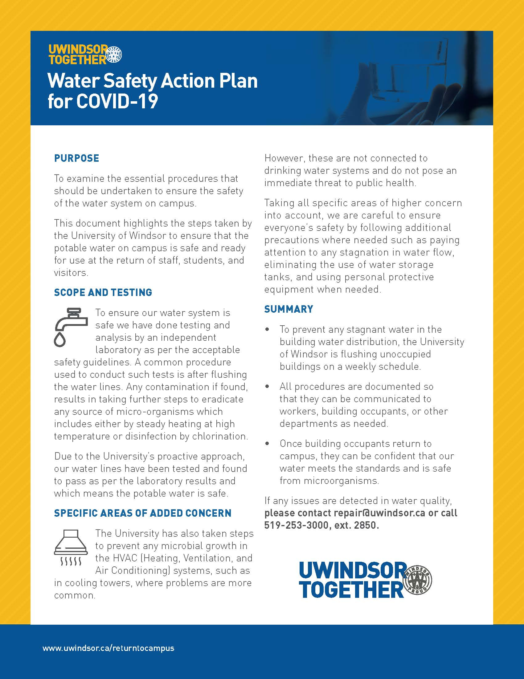 Water Safety Action Plan for COVID-19
