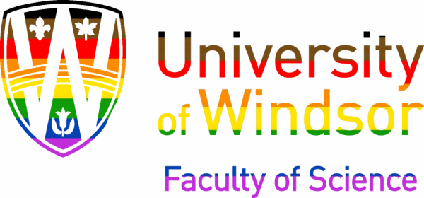 UWindsor Faculty fo Science Logo in the colours of the All Inclusive Pride Flag