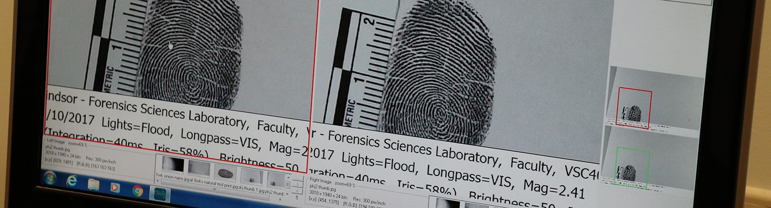 Looking at fingerprints on Forensic Science software