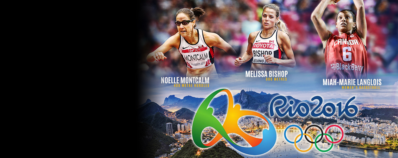 Olympians Noelle Montcalm, Melissa Bishop and Miah-Marie Langlois