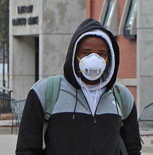 masked student