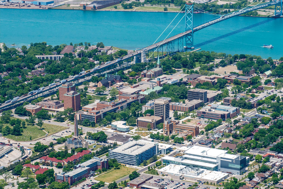 Ariel shot of UWindsor campus