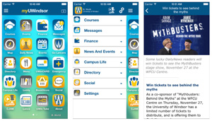 myUWindsor mobile app sample screens