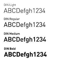 Examples of the DIN font