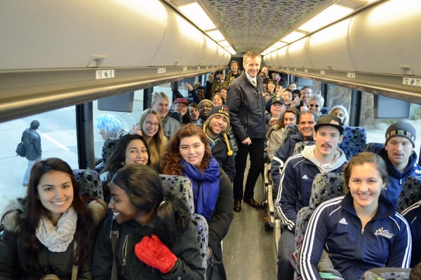 Bus full of UWindsor Lancers