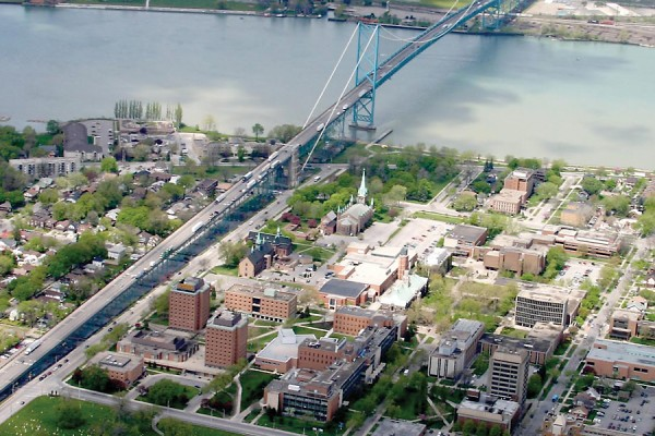 The University of Windsor is located on the banks of the Detroit River.