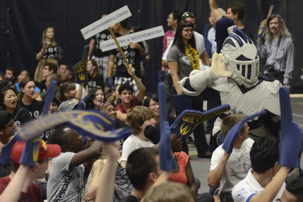 UWindsor mascot, Winston, energizing the crowd