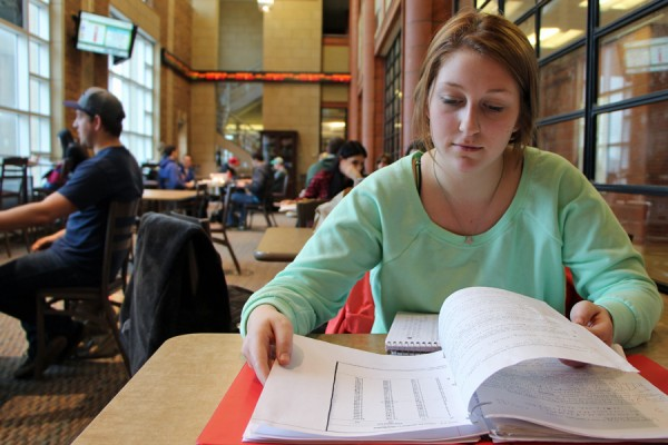 Student studying in the Odette School of Business