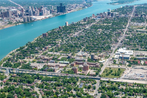 Aerial shot of UWindsor campus and the surrounding area