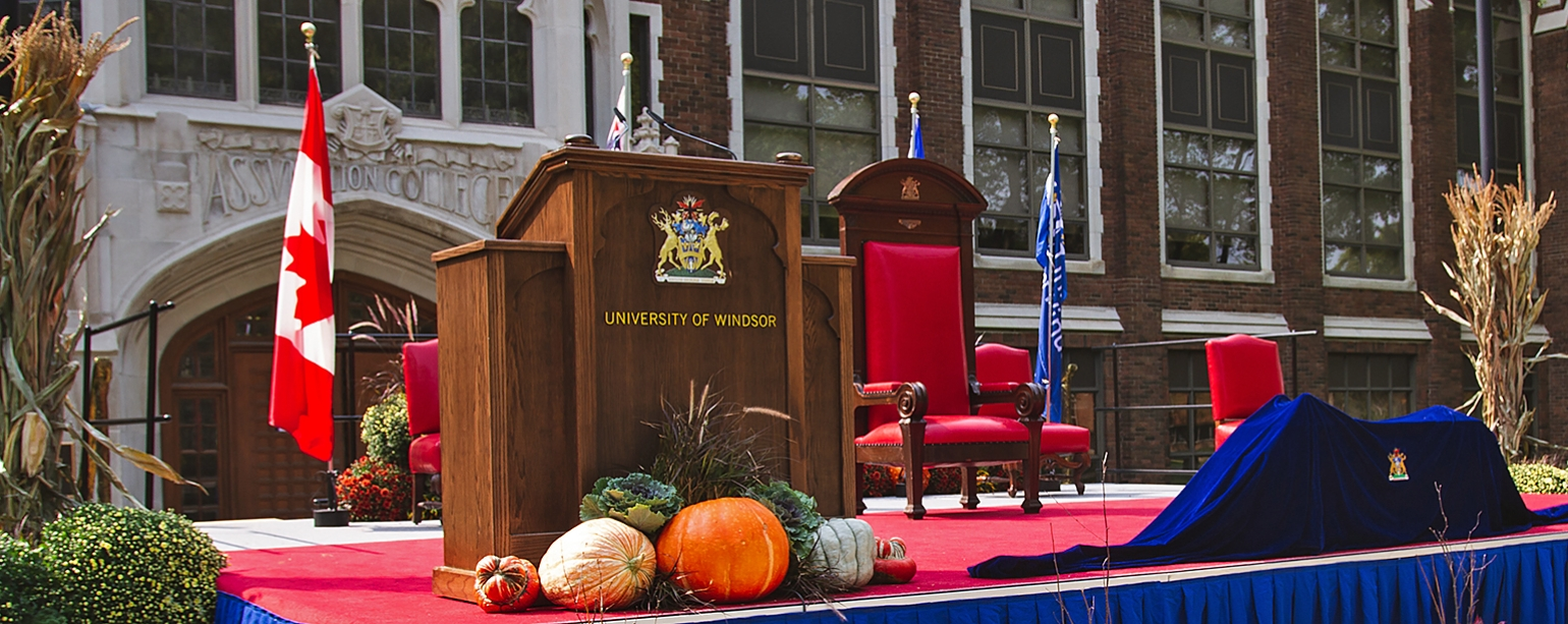 Convocation stage set in front of Dillon Hall