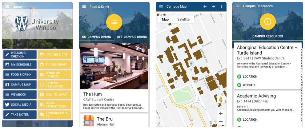 UWindsor Events mobile app screens