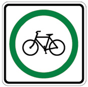 sign: bicycle in green circle