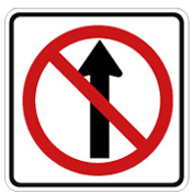 sign: arrow pointing upward with red circle and slash