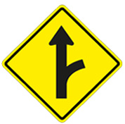 sign yellow diamond arrow up with branch to right