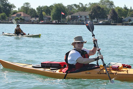 Susan McKee in kayak on Detroit River