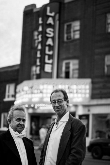 Allan Powell and Michael Rawley in front of the historic LaSalle Theatre in Kirkland Lake. Photo courtesy of Karen Joyner.