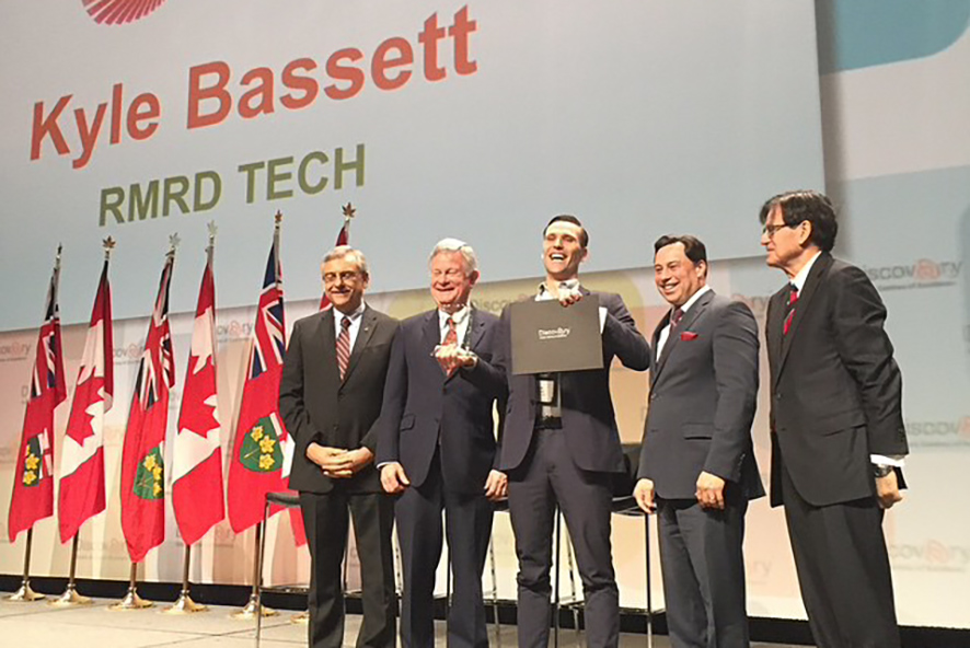 Kyle Bassett's design of a compact wind turbine, that will help deliver power to remote areas of the world, won him the David McFadden Energy Entrepreneur Challenge at the Ontario Centres of Excellence (OCE) Discovery Conference this week. Photo from left