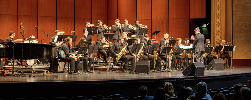 University Jazz Ensemble performing on the Pentastar stage in Capitol Theatre