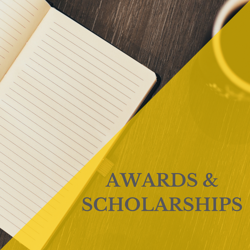 Awards & Scholarship link showing a writing pad