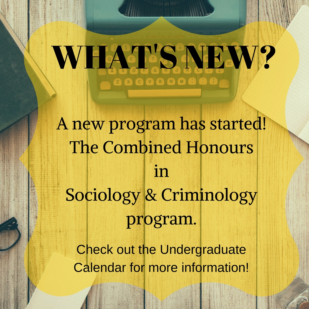 New Program ad for Combined Sociology and Criminology Program