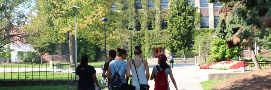 Incoming exchange students walk by Leddy Library