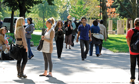 University students on campus